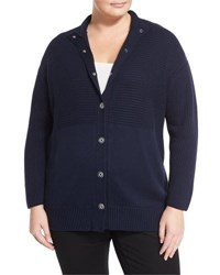 Lafayette 148 New York Ribbed Snap Front Cardigan Ink