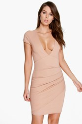 Boohoo Plunge Neck Wrap Dress Nude