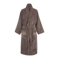 Roberto Cavalli Gold Shawl Bathrobe Coffee Brown
