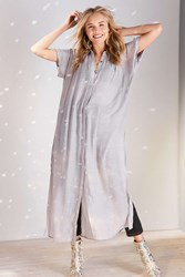 Silence And Noise Carlo Button Down Maxi Blouse Grey