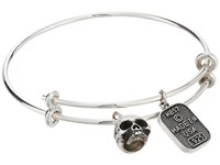 King Baby Studio Adjustable Bangle Bracelet With Hamlet Skull Charm Silver