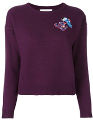 Carven Embroidered Bird Jumper Pink And Purple