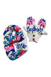 Muk Luks Colorful Snowflake Eternity Scarf And Mittens Set Pink