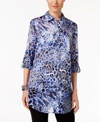 Jm Collection Printed Roll Tab Blouse Only At Macy's Exotic Mix