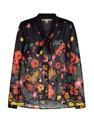 Yumi Pussy Bow Blouse With Botanical Print Black