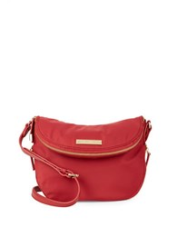 Vince Camuto Zip Accented Nylon Crossbody Bag Rio Red