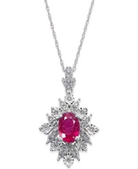 Macy's Ruby 1 Ct. T.W. And Diamond 1 5 Ct. T.W. Pendant Necklace In 14K White Gold