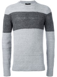 Emporio Armani Colour Block Jumper Grey