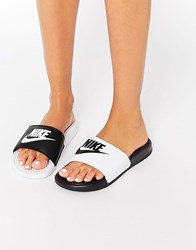 Nike Benassi Miss Match Flat Sandals 010 Black White Multi