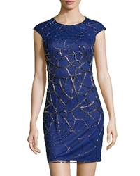 Phoebe Couture Short Sleeve Embossed Cocktail Dress Cobalt
