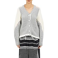 Sacai Women's Lace Trimmed Cardigan Light Grey