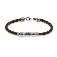 Platadepalo Brown Woven Leather Bracelet With Solid Silver Nuggets