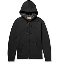 Burberry Fleece Back Cotton Blend Jerey Zip Up Hoodie Black