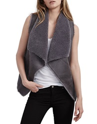 Velvet By Graham And Spencer Draped Faux Fur Vest Charcoal Grey