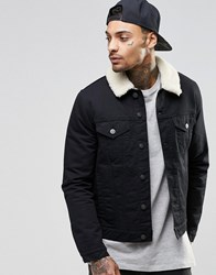 Asos Denim Jacket With Faux Shearling Collar In Black Black
