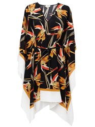 Fendi Bird Of Paradise Print Kaftan Black