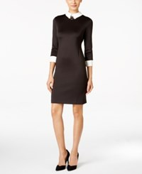 Ivanka Trump Collared Hardware Sheath Dress Black Cream