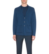 John Smedley Oxland Button Up Wool Cardigan Deep Teal