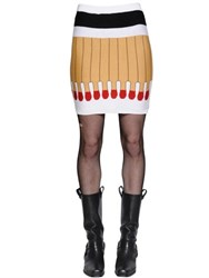 Moschino It's Lit Intarsia Wool Knit Skirt