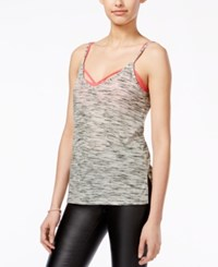 Ultra Flirt Juniors' Printed High Low Tank With Strappy Bralette Heather Grey Coral