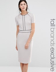 Alter Tall Short Sleeve Pencil Dress With Piping Detail Grey