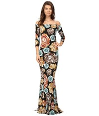 Norma Kamali Off Shoulder Fishtail Gown Painter Roses Women's Dress Multi