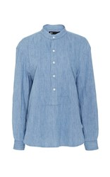 3X1 Cotton Button Up Shirt With Mandarin Collar Light Wash