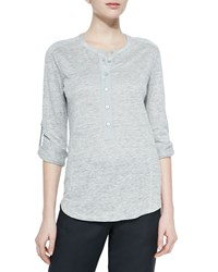 Vince Long Sleeve Slub Henley Tee Heather Grey