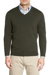 Nordstrom Men's Big And Tall Men's Shop Cotton And Cashmere V Neck Sweater Green Deep Pine