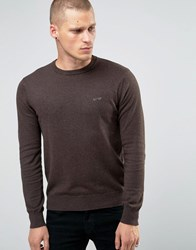 Armani Jeans Jumper With Crew Neck And Logo In Brown Brown