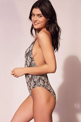 Out From Under Snake Skin Printed One Piece Swimsuit Black Multi