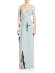 Teri Jon Sequined Lace Ruffle Gown Mint