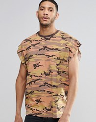 Asos Super Oversized Sleeveless T Shirt In Vintage Camel Camo Print Camel Brown