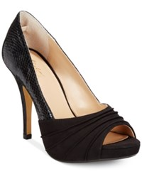 Thalia Sodi Marissa Ruched Platform Pumps Only At Macy's Women's Shoes Black Snake