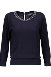 Magaschoni Embellished Silk And Cashmere Blend Sweater Midnight Blue