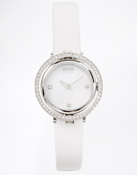 Hugo Boss Round Face Leather Strap Watch White