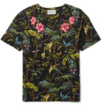 Gucci Slim Fit Appliqued Tropical Print Linen Jersey T Shirt Black