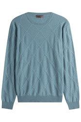 Etro Wool Diamond Patterned Pullover Turquoise