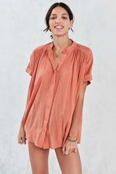 Ecote Annie Gauzy Button Front Tunic Blouse Rust