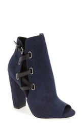 Women's By Zendaya 'Kaylor' Peep Toe Buckle Strap Bootie Navy