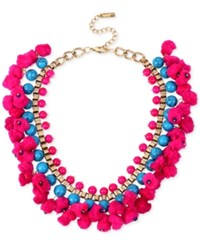 Inc International Concepts M. Haskell For Inc Gold Tone Blue Bead And Pom Pom Collar Necklace Only At Macy's