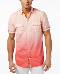 Inc International Concepts Men's Hawaii Dip Dye Short Sleeve Shirt Only At Macy's Peach Melba