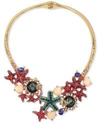 Betsey Johnson Gold Tone Crystal And Stone Starfish Hinged Collar Necklace