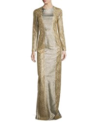 Stella Mccartney Long Sleeve Lace Trim Metallic Gown Gold
