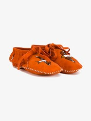 Brother Vellies Suede Embroidered Moccasins Orange Multi Coloured White Denim