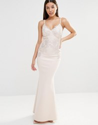 Lipsy Foil Lace Bust Detail Maxi Dress Nude