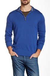 Tailorbyrd Jhu Quarter Zip Wool Sweater Blue