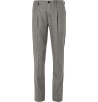Brunello Cucinelli Slim Fit Houndstooth Wool Trousers Gray