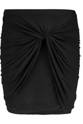 Helmut Lang Ruched Modal Jersey Mini Skirt Black