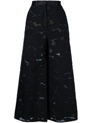 Self Portrait Embroidered Wide Leg Trousers Black